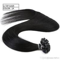 лучшие пакеты для волос оптовых-Высший сорт 0,9 г с 200st 180 г упак. 14 '' - 24 '' 100% человеческие волосы, черный цвет, наращивание ногтей, кончик наращивания волос Remy Indian Best P