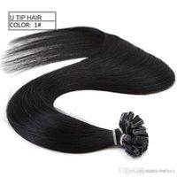 beste haarpackungen großhandel-Bestnote 0,9 g s 200st 180gr Packung 14 '' - 24 '' 100% Echthaar Schwarz Farbe Nagelspitze Haarverlängerungen Remy Indian Best P