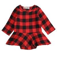 falda larga de cuadros rojos al por mayor-Navidad recién nacido de Navidad para niños bebés de tela escocesa del rojo de la princesa de la falda de vestir de manga larga Romper ropa de bebé enrejado del otoño Trajes M542