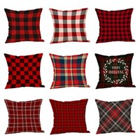 Wholesale throw pillow cases covers resale online - 30 Styles Christmas Decorations Pillow Case Plaid Elk Bear Ptinted Throw Pillow Covers Xams Sofa Cushion Cover Home Party Pillowcase C5686
