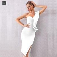 um ombro assimétrico vestido de noite venda por atacado-2019 New vestido bandagem assimétrica Mulheres Sexy de um ombro plissados Verão BODYCON Clube Vestidos Vestidos da celebridade Vestido Partido