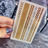 hint vücut çıkartmaları toptan satış-Vücut Sanatı Boyama Su Geçirmez Dövme Çıkartma Glitter Metal Altın Gümüş Geçici Flaş Dövme Kolye Hintliler Dövmeler