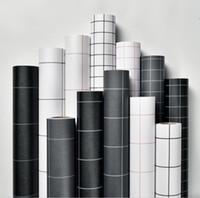 ingrosso carta da parati semplice bianca nera-Carta da parati autoadesiva griglia quadrata bianco e nero semplice PVC adesivo da parete impermeabile camera da letto soggiorno parete ristrutturazione carta da parati 60cm