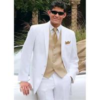 mens white suit gold tie großhandel-White Mens Smoking Hochzeit Smoking Custom Made Groomsmen Anzug Hochzeitsanzüge für Männer Gold Weste (Jacke + Pants + Weste + Tie) ZQ