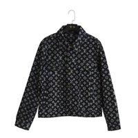 en kaliteli deri ceketler toptan satış-19ss Avrupa klasik tasarımcı retro casual denim ceketler kadınlar için deri tam mektup lazer baskı en kaliteli kumaş yaka mont