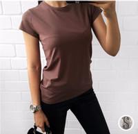 camisas de algodão simples venda por atacado-Alta Qualidade 18 Cor S-3XL Simples T Shirt Mulheres Algodão Elástico Básico Camisetas Femininas Casual Tops de Manga Curta T-shirt Das Mulheres