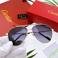 fliegerbrillen für frauen großhandel-Heiße Männer Designer Luxus Sonnenbrille UV PolarizationFashion Frauen Sonnenbrille Vintage Metall Sport flieger Sonnenbrille Hohe Qualität Mit Box