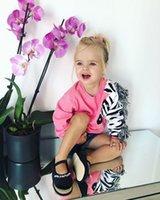 зебра для девочек оптовых-Fashion Tassels Newborn Toddler Baby Girl 3D Zebra Cotton Top T-shirt Long Sleeve Cotton Sweatshirt Cute Clothes 1-6T