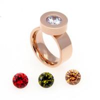 jóias pedras intercambiáveis venda por atacado-2015 Marca de Moda Jóias 4 Cores Zircão Pedra De Cristal Anéis Intercambiáveis 18 K Ouro 316L Anéis De Aço Inoxidável Para As Mulheres
