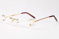 óculos transparentes para homens venda por atacado-Mens designer de óculos de sol para os homens de chifre de búfalo óculos 2019 marca sem aro do vintage óculos retro óculos de prata de ouro de metal claro