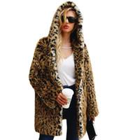 sudadera con capucha mujer leopardo invierno al por mayor-Plus Size Leopard Cardigan Streetwear Hoodie Winter Faux Fur Coat Women 2019 Europe Fashion Warm sexy Long Prendas de abrigo Abrigos p1318