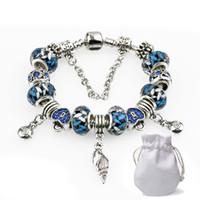 mavi buz kolye toptan satış-El yapımı Charm Bilezikler Fit Pandora Mavi Murano Cam Boncuk Kristal Marka Gümüş Alaşım Kolye Kadın Tasarımcı Yılan Zincir Takı P53