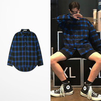 moda callejera coreana para hombres al por mayor-Otoño Diseño de moda coreano Hip Hop Extender botín Camisa de manga larga Hombres Skateabord High Street Justin Bieber Kanye Camisa