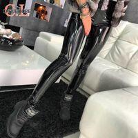 ingrosso gambali in spandex in pelle-Pantaloni di pelle CHRLEISURE dell'unità di elaborazione delle vita alta Skinny nero spinge verso l'alto le ghette sexy elastico pantaloni di stirata plus Jeggings Dimensione