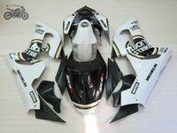 kit corpo branco kawasaki zx6r venda por atacado-kit carenagens corpo para a Kawasaki Ninja ZX6R 2005 2006 ZX6R 05 06 ZX 6R branco preto personalizado Lucky Strike correndo carenagem kit ac28