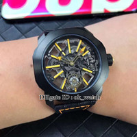 Wholesale cool mens digital watch resale online - 5 styles NEW Octo Tourbillon Japan Miyota Automatic Mens Watch Hollow Skeleton dial steel case Gents sport cool watches Leather strap