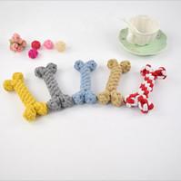ingrosso roping artificiale-Pet giocattolo cane ossa giocattolo corda di cotone intrecciato pet forniture ossa cane artificiale morso-resistente