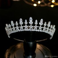 Wholesale luxury headdress jewelry resale online - New Luxury Silver Crown Wedding Parade Headdress Bridal Hair Accessories Jewelry Crown Zircon crown