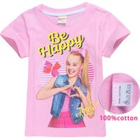 Wholesale jojo siwa clothes resale online - 100 Cotton Kids Cartoon T shirts Colors JOJO SIWA Printed Summer y Girls T Shirt Tees kids designer clothes Girls FJ10