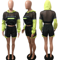 Wholesale multi colored suits for sale - Group buy Summer Patchwork Color Mesh Tracksuit Multi Colored Long Sleeve Hooded Crop Tops Shorts set Outfit Jogger Pullover Sweat Suit C486