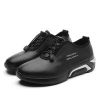 красная удобная обувь оптовых-Человек Кожа Повседневная Обувь Черный Красный Мужская Весна Осень Кроссовки Резинка Классическая Обувь Для Мужчин Удобная Плоская Мужская Обувь