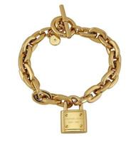 altın kaplama tungsten takı toptan satış-Kadın Kilit Bilezikler 925 Ayar Gümüş Altın Kaplama Kolye Charm Bilezik Bileklik Takı Erkekler Kadınlar Için B006