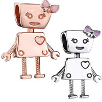 kızlar için 925 gümüş bilezikler toptan satış-2 ADET Toplu Avrupa Bella Robot Charm Makinesi Kız Pandora IÇIN 925 Ayar Gümüş Charm Kolye Boncuk Bilezik Zincir Bileklik Kolye takı