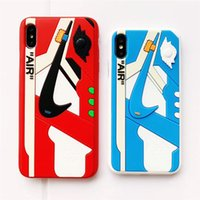 iphone6 mais caso tpu venda por atacado-Silicone fosco 3d padrão de sapatos de basquete tampa do telefone pc esportes de borracha fosco caso de volta para iphone6 6 s 7 8 plus xs xsmax xr