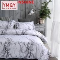 ingrosso set di comforter piumini-Set di biancheria da letto in marmo stampato Copripiumino nero bianco Copripiumino matrimoniale queen size Copripiumino trapunta 3 pezzi