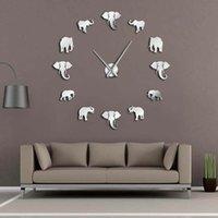 tasarım duvarı aynaları toptan satış-37 inç Orman Hayvanlar Fil DIY Büyük Duvar Saati Ev Dekorasyonu Modern Tasarım Ayna Etkisi Dev Çerçevesiz Filler DIY Saat İzle