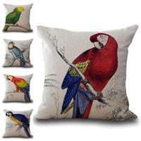 almohadas de loro al por mayor-Talking Bird Loros Funda de almohada Funda de cojín de lino de algodón Fundas de almohada Sofá Coche Funda de almohada decorativa Envío de la gota 240579