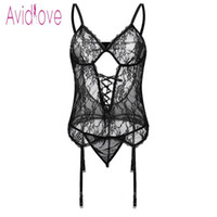 ingrosso più le donne di formato aprono la biancheria intima-Avidlove Plus Size Lingerie Trasparente Sexy Erotic Hot Sex Costume Donne Halter Open Lace Babydoll Dress Underwear Set Nighty Y19070302