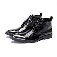 ingrosso stivaletti britannici-Stivali da uomo Stile britannico Abito stringato da uomo scarpe da ballo marrone scuro Scarpe da lavoro formale da uomo Scarpe da uomo in vera pelle