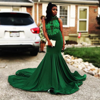 Wholesale beaded lace girls dress train resale online - Emerald Green High Neck Mermaid Prom Dresses Sleeveless Applique Lace Custom Made Evening Gowns For Black Girl Wear