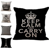 Wholesale crown home resale online - Letter Keep Calm and Carry On Crown Pillow Case Throw Cushion Cover Linen Cotton Square quot Pillow Covers Color Options Custom Free