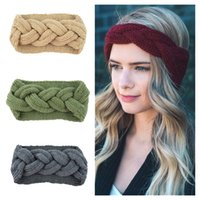 ingrosso pesce artigianale a crochet-Donne Inverno Solido Big Bow Fish Knit Fascia di lana Ragazza Warm Woolen Crochet Turban Handmade Bow Knot Wide Head Wrap