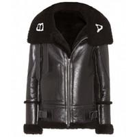 casacos de veludo preto mulheres venda por atacado-18FW BLCG logo PU Jaqueta De Couro Das Mulheres Dos Homens Casaco Longo de Inverno Além de Veludo Jaqueta de Moto Preto Moda HFLSPY000