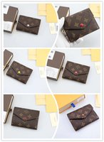 Wholesale cover code for sale - Group buy original box luxury real leather multicolor date code short wallet Card holder women man classic zipper pocket Victorine