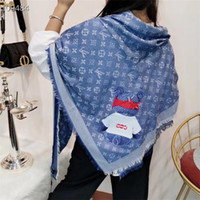 ingrosso chiffon stampa tessuti-Dimensioni: 140cm-140 centimetri Top Super cachemire mescolato sciarpa per le donne soft tessuti avanzati sciarpa fase di lusso T di progettazione a lungo stampato animale Scialle