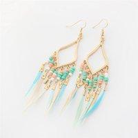 ingrosso nappe esotiche-Exotic a forma di rombo piuma nappa orecchini lunghi moda creativa perline di riso retrò orecchini originali per i monili delle donne RHQ095