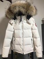 ingrosso pelliccia lussuosa-Lussuoso Canada donne inverno anatra piumino cappotto 100% reale grande reale lupo collo di pelliccia con cappuccio piumino spessa calda giù Parka.