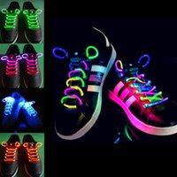 cordones de neón brillantes al por mayor-2 unids! Moda LED cordones de los cordones de los zapatos que destellan Light Up Glow Stick Correa Neon zapato Cuerdas Laces luminosa Disco Suministros para fiestas