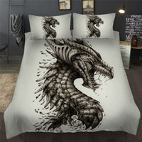король постельные принадлежности наборы оптовых-White Pterosaur Pattern Bedding Set Full Queen King Size Duvet Cover Pillowcase Set Dinosaur Printed Beddings Bedlinens