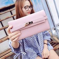 Wholesale elegant phone holder online – Factory brand women handbag new Joker leather long wallet fashion buckle clutch bag elegant belt decorated women wallet