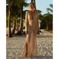 encubrimientos para trajes de baño al por mayor-2019 Piso largo Sexy Beach Cover Up Crochet White Swimwear Dress Ladies Bathing Suit Cover Ups Beach Tunic Saida De Praia
