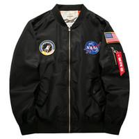 askeri bomba ceketi siyah toptan satış-Erkekler Bombacı Ceketler Giyim Askeri Uçuş Ceket NASA Ceket Siyah Palto Bahar Sonbahar Rüzgarlık 2019 Ücretsiz Nakliye M-6XL Tops