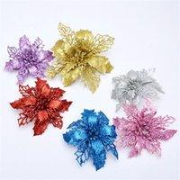 ingrosso alberi artificiali decorativi-11cm Fiore artificiale glitterato che scava fiori di plastica decorativi simulati per appendere gli ornamenti dell'albero di Natale 1 18wy E1