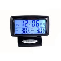 medidor de termómetro al por mayor-CARGOOL Termómetro digital para automóvil Reloj Medidor de temperatura del vehículo Medidor de temperatura exterior para interiores Retroiluminación LED Reloj para automóvil