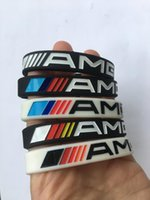 черные белые браслеты оптовых-2pcs AMG Luminous Silicone Bracelet Men Women Black white Wristband Rubber Wrist Band Bangle for  Benz Club Fans Gifts