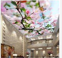 güzel kelebek duvar kağıtları toptan satış-Güzel çiçekli kelebek tavan zenith duvar gökyüzü tavan duvar kağıdı